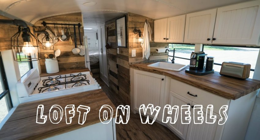 School Bus Turned Into Loft On Wheels Tiny House Unique